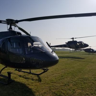 Navette en hélicoptère pour le meeting de Cerny.